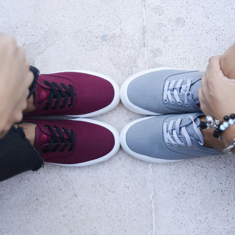 top view of red and grey pair of LEAF sustainable shoes