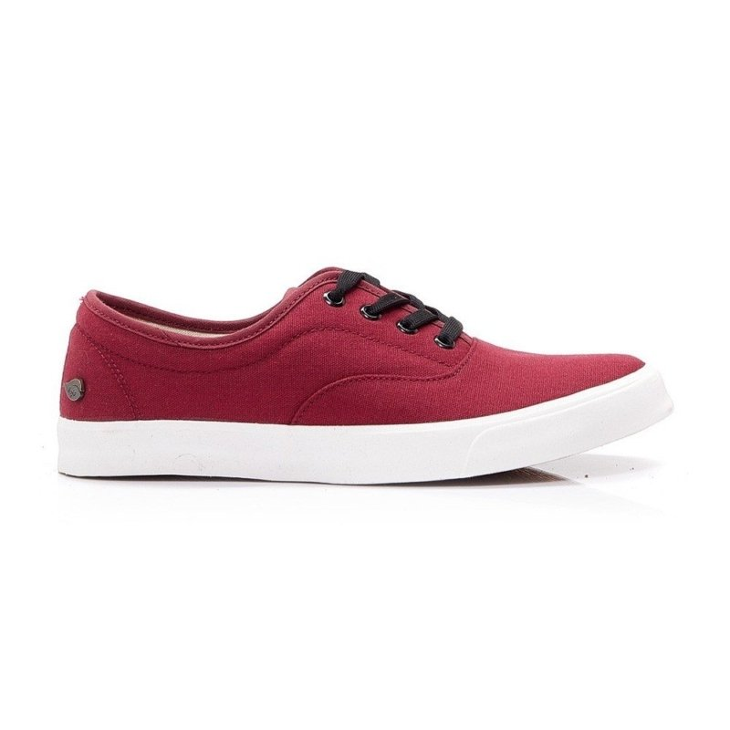 Side profile of red LEAF sustainable shoes